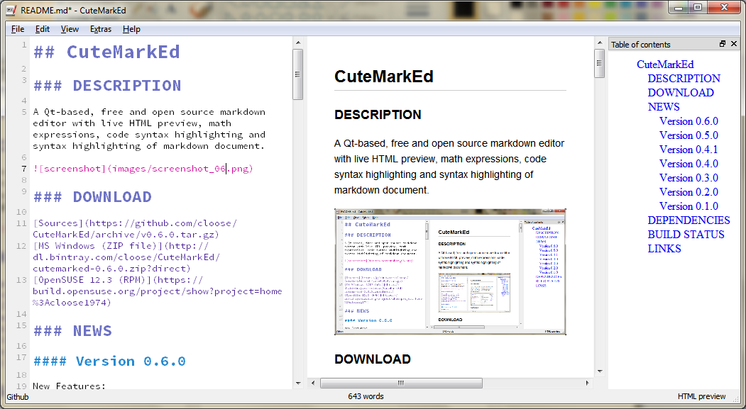 CuteMarkEd - The open source, cross-platform Markdown editor